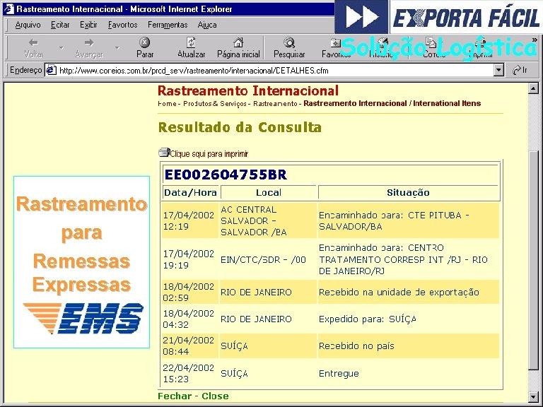 Solução Logística Rastreamento para Remessas Expressas 53