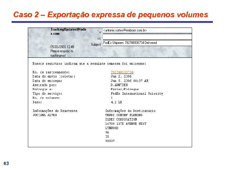 Caso 2 – Exportação expressa de pequenos volumes 63