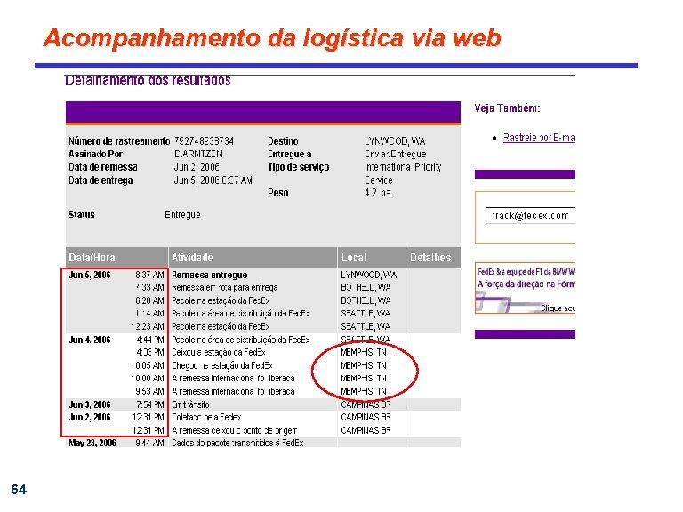 Acompanhamento da logística via web 64