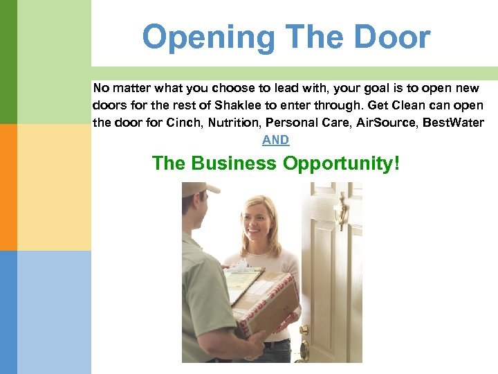 Opening The Door No matter what you choose to lead with, your goal is