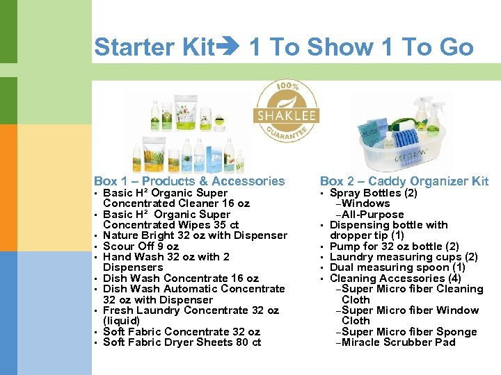 Starter Kit 1 To Show 1 To Go Box 1 – Products & Accessories