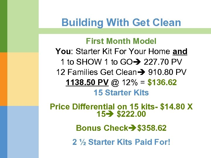 Building With Get Clean First Month Model You: Starter Kit For Your Home and