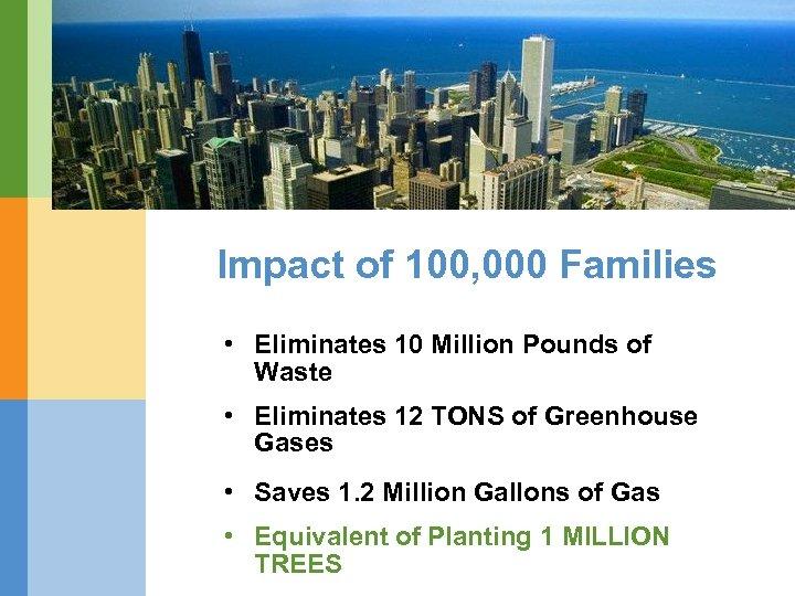 Impact of 100, 000 Families • Eliminates 10 Million Pounds of Waste • Eliminates