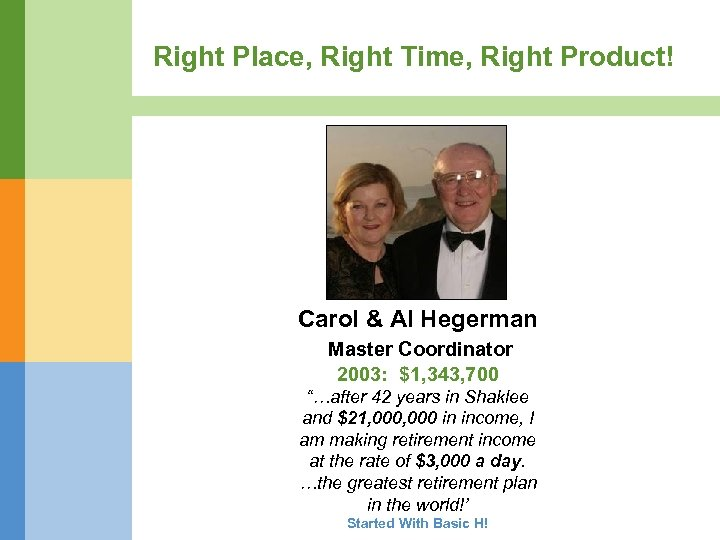 Right Place, Right Time, Right Product! Carol & Al Hegerman Master Coordinator 2003: $1,