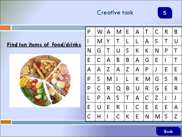 Creative task P I Find ten items of food/drinks N E A P P