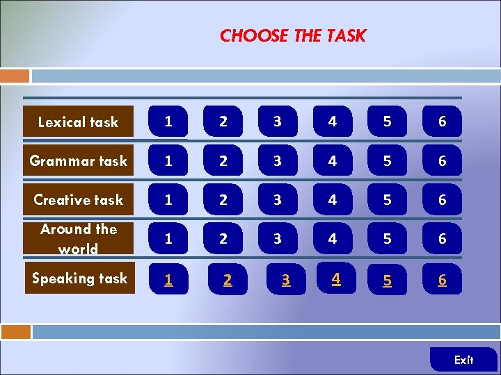 CHOOSE THE TASK Lexical task 1 2 3 4 5 6 Grammar task 1