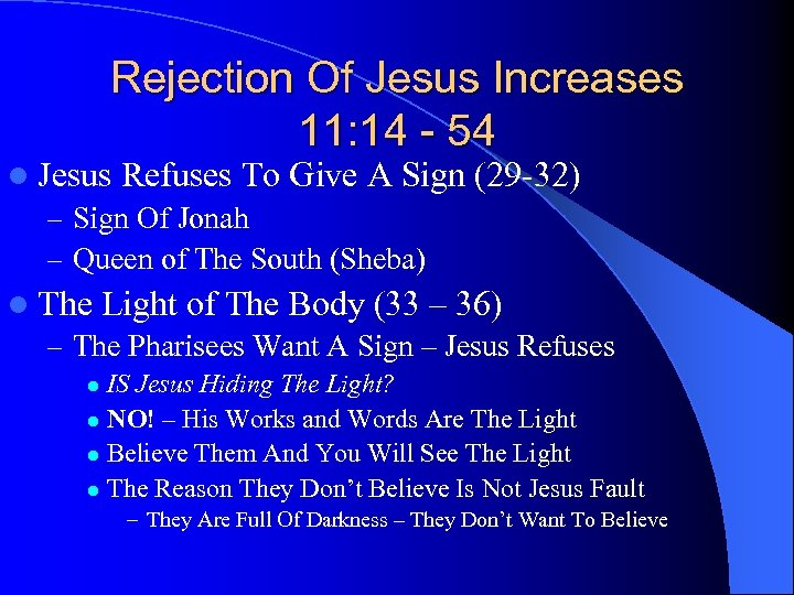 Rejection Of Jesus Increases 11: 14 - 54 l Jesus Refuses To Give A