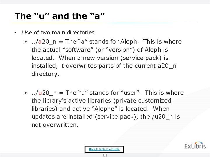 "The ""u"" and the ""a"" • Use of two main directories • . ."