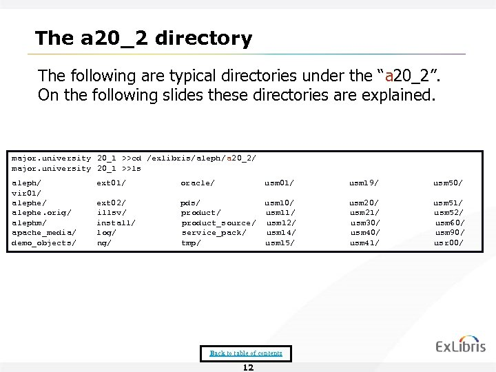 "The a 20_2 directory The following are typical directories under the ""a 20_2"". On"
