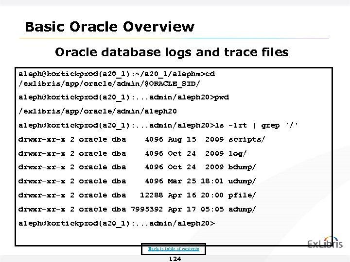 Basic Oracle Overview Oracle database logs and trace files aleph@kortickprod(a 20_1): ~/a 20_1/alephm>cd /exlibris/app/oracle/admin/$ORACLE_SID/