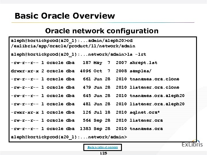 Basic Oracle Overview Oracle network configuration aleph@kortickprod(a 20_1): . . . admin/aleph 20>cd /exlibris/app/oracle/product/11/network/admin