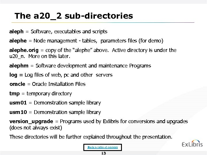 The a 20_2 sub-directories aleph = Software, executables and scripts alephe = Node management