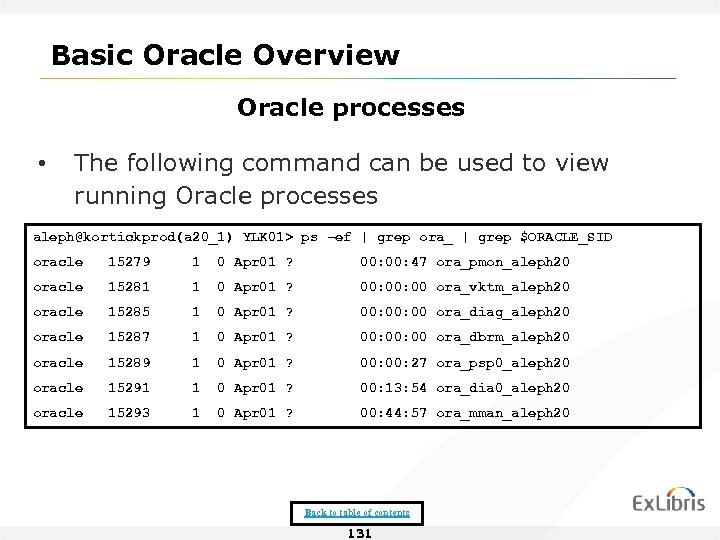 Basic Oracle Overview Oracle processes • The following command can be used to view