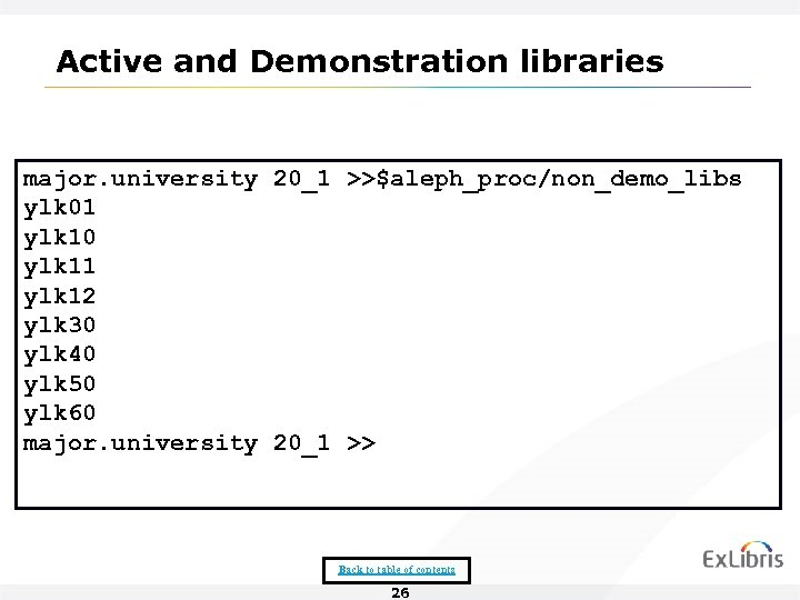 Active and Demonstration libraries major. university 20_1 >>$aleph_proc/non_demo_libs ylk 01 ylk 10 ylk 11