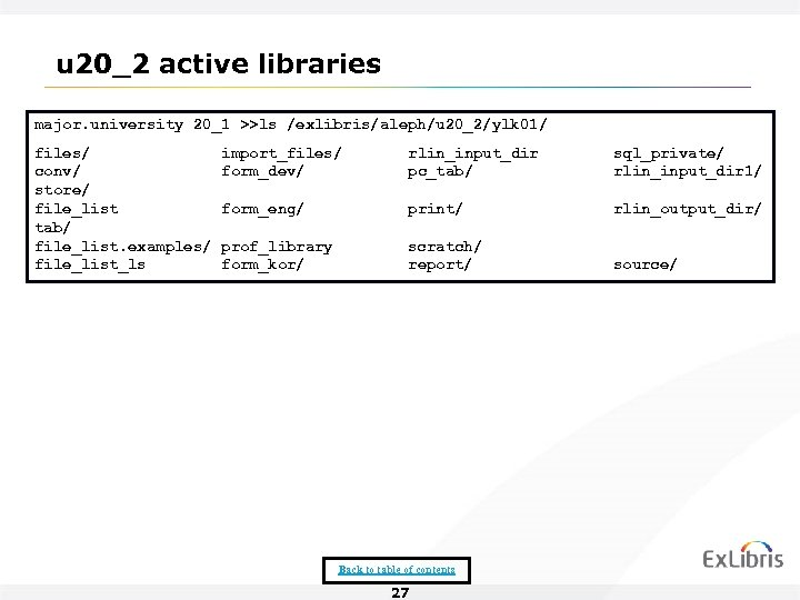 u 20_2 active libraries major. university 20_1 >>ls /exlibris/aleph/u 20_2/ylk 01/ files/ conv/ store/
