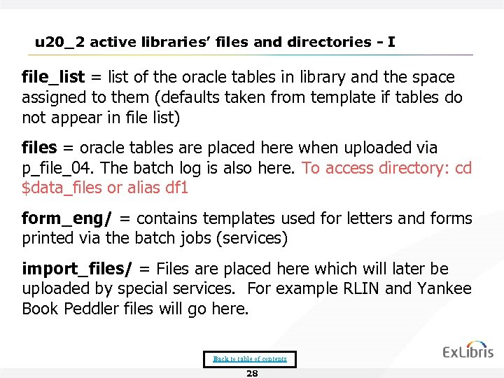 u 20_2 active libraries' files and directories - I file_list = list of the