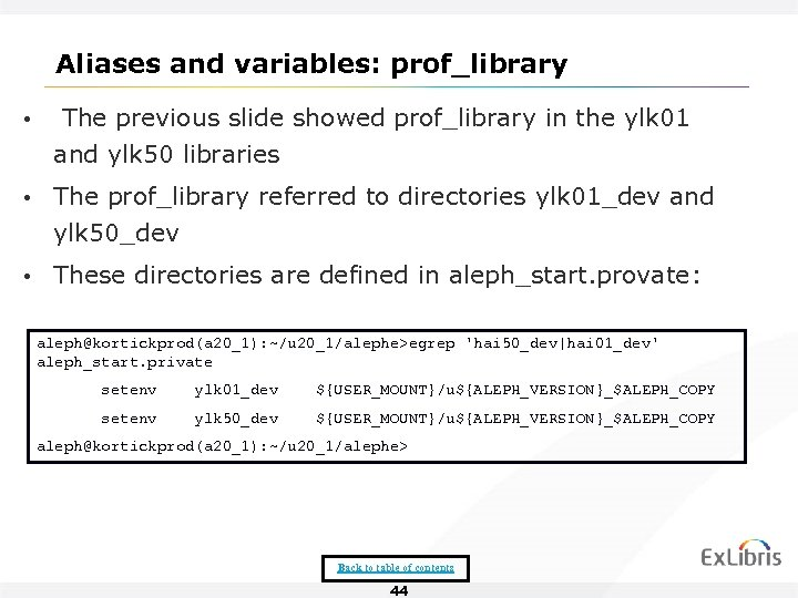 Aliases and variables: prof_library • The previous slide showed prof_library in the ylk 01