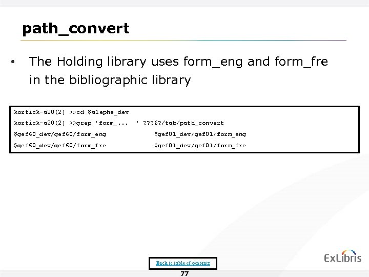 path_convert • The Holding library uses form_eng and form_fre in the bibliographic library kortick-a