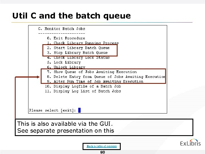 Util C and the batch queue This is also available via the GUI. See