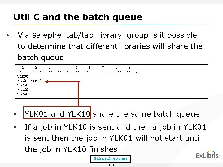 Util C and the batch queue Via $alephe_tab/tab_library_group is it possible to determine that