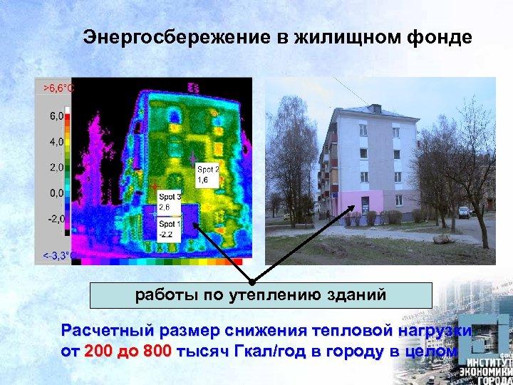 Энергосбережение в жилищном фонде работы по утеплению зданий Расчетный размер снижения тепловой нагрузки от