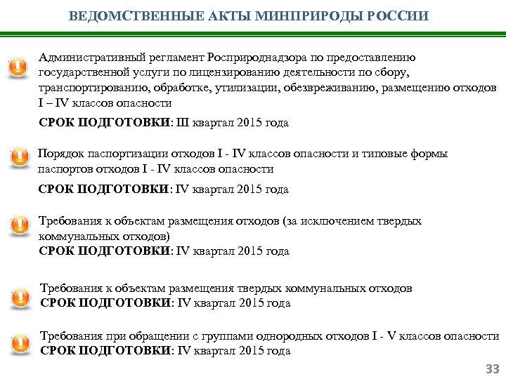 ВЕДОМСТВЕННЫЕ АКТЫ МИНПРИРОДЫ РОССИИ Административный регламент Росприроднадзора по предоставлению государственной услуги по лицензированию деятельности