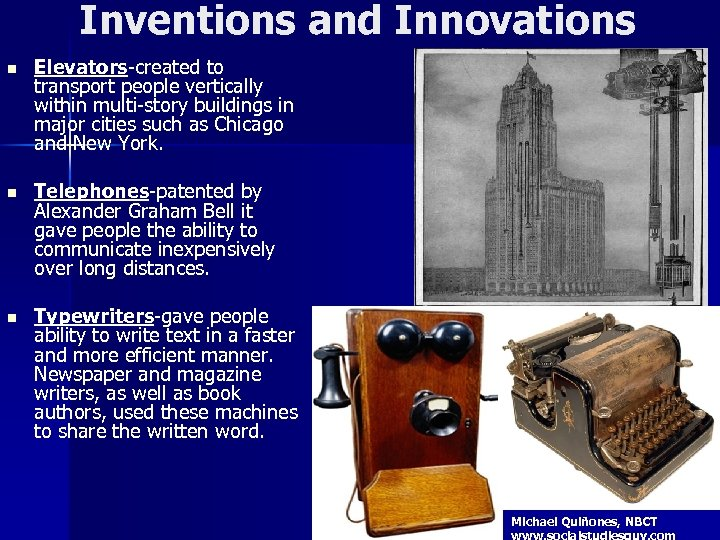 Inventions and Innovations n Elevators-created to transport people vertically within multi-story buildings in major