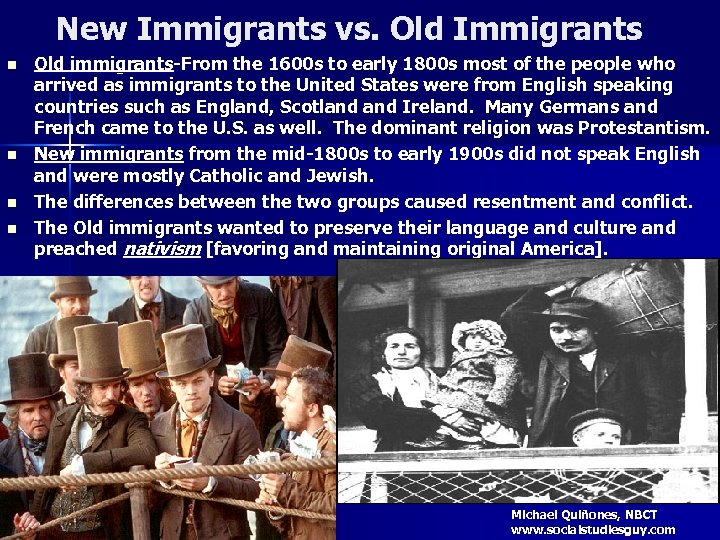 New Immigrants vs. Old Immigrants n n Old immigrants-From the 1600 s to early