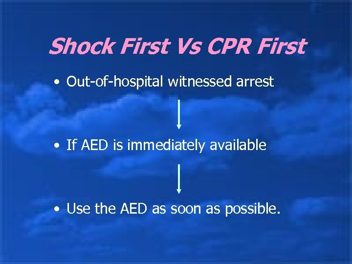 Shock First Vs CPR First • Out-of-hospital witnessed arrest • If AED is immediately