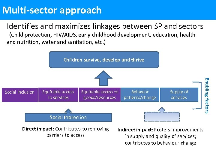 Multi-sector approach Identifies and maximizes linkages between SP and sectors (Child protection, HIV/AIDS, early