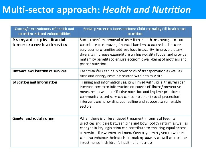 Multi-sector approach: Health and Nutrition Causes/ determinants of health and nutrition-related vulnerabilities Social protection