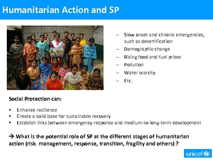 Humanitarian Action and SP – Slow onset and chronic emergencies, such as desertification –