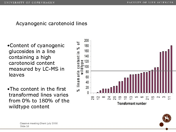 Acyanogenic carotenoid lines • Content of cyanogenic glucosides in a line containing a high