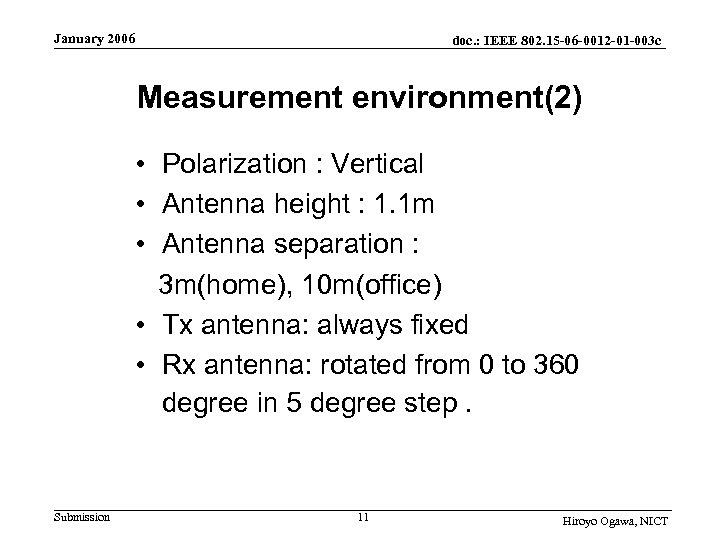 January 2006 doc. : IEEE 802. 15 -06 -0012 -01 -003 c Measurement environment(2)