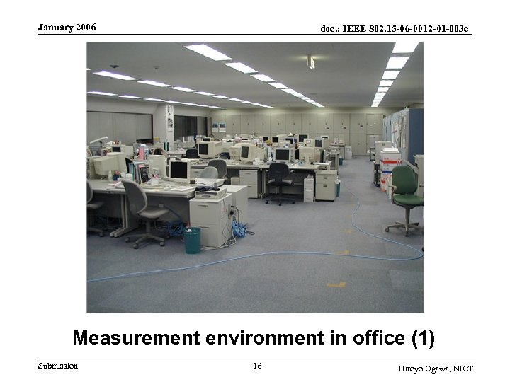 January 2006 doc. : IEEE 802. 15 -06 -0012 -01 -003 c Measurement environment