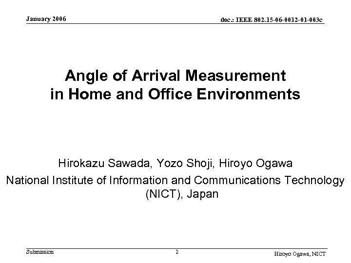 January 2006 doc. : IEEE 802. 15 -06 -0012 -01 -003 c Angle of