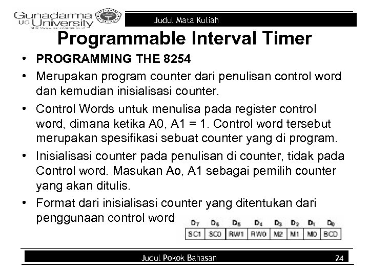 Judul Mata Kuliah Programmable Interval Timer • PROGRAMMING THE 8254 • Merupakan program counter