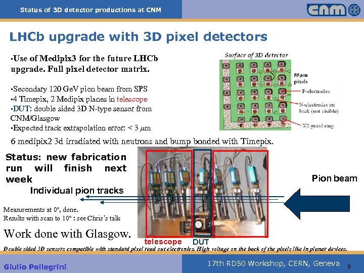 Status of 3 D detector productions at CNM LHCb upgrade with 3 D pixel