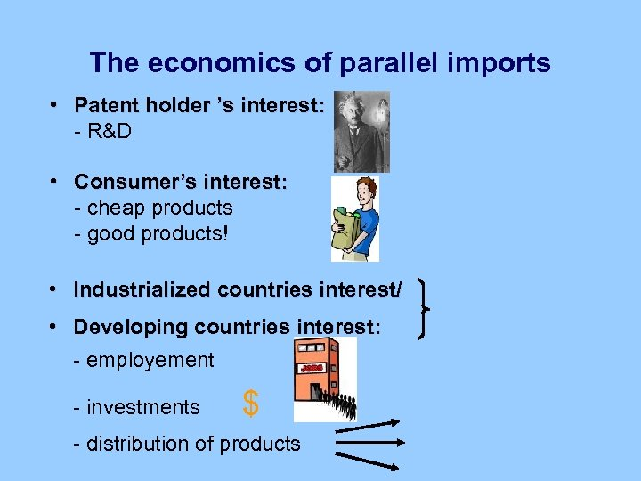 The economics of parallel imports • Patent holder 's interest: - R&D • Consumer's