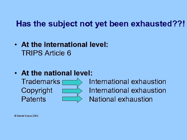Has the subject not yet been exhausted? ? ! • At the international level: