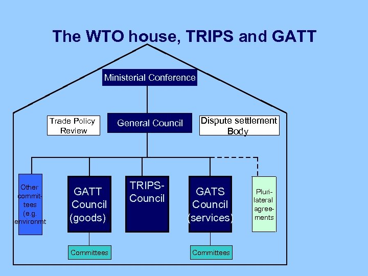The WTO house, TRIPS and GATT Ministerial Conference Trade Policy Review Other committees (e.