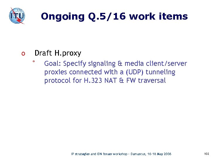 Ongoing Q. 5/16 work items o Draft H. proxy ° Goal: Specify signaling &