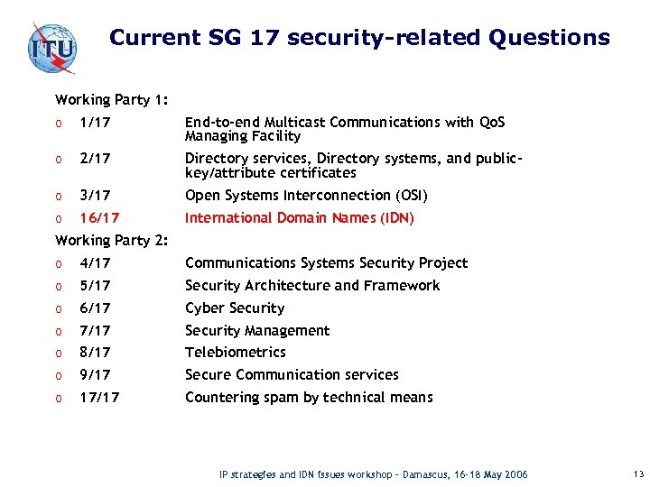 Current SG 17 security-related Questions Working Party 1: o 1/17 End-to-end Multicast Communications with