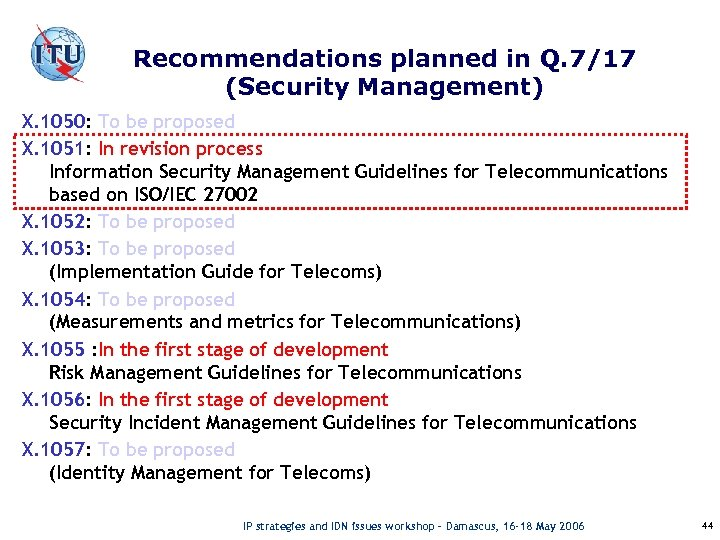 Recommendations planned in Q. 7/17 (Security Management) X. 1050: To be proposed X. 1051: