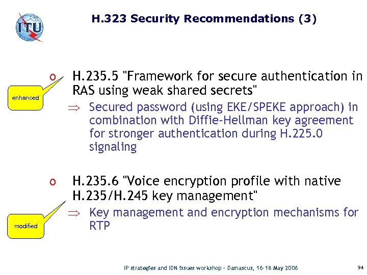 H. 323 Security Recommendations (3) o enhanced Þ Secured password (using EKE/SPEKE approach) in