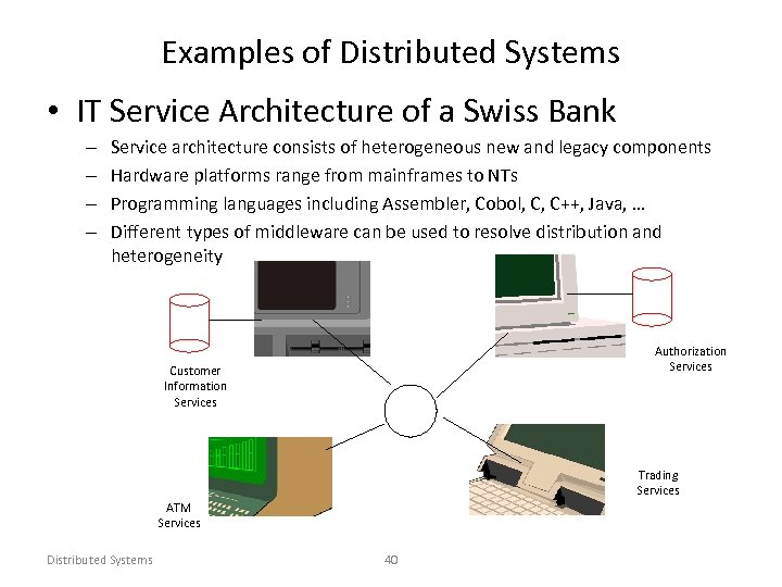 Examples of Distributed Systems • IT Service Architecture of a Swiss Bank – –