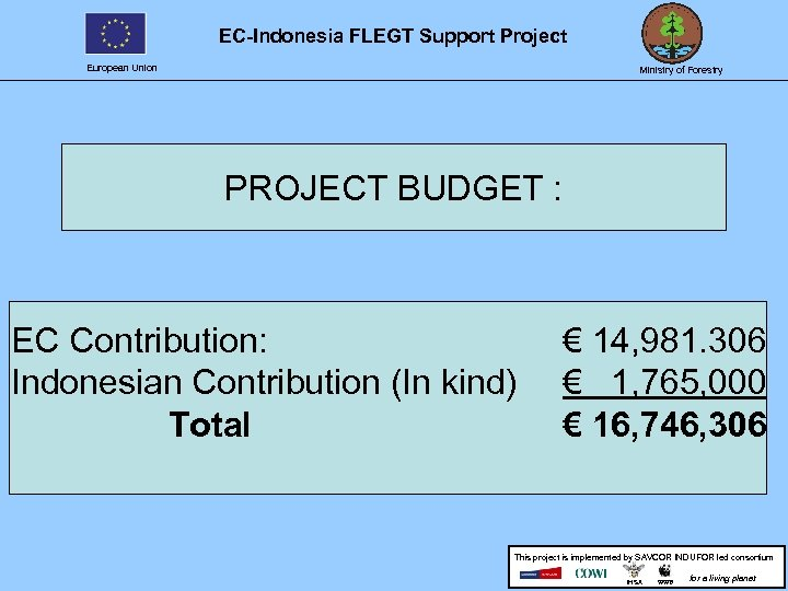 EC-Indonesia FLEGT Support Project European Union Ministry of Forestry PROJECT BUDGET : EC Contribution: