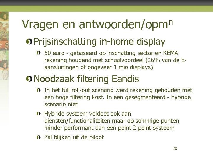 Vragen en antwoorden/opmn Prijsinschatting in-home display 50 euro - gebaseerd op inschatting sector en