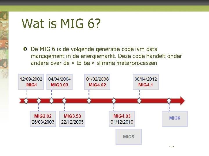 Wat is MIG 6? De MIG 6 is de volgende generatie code ivm data