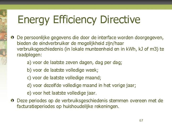 Energy Efficiency Directive De persoonlijke gegevens die door de interface worden doorgegeven, bieden de